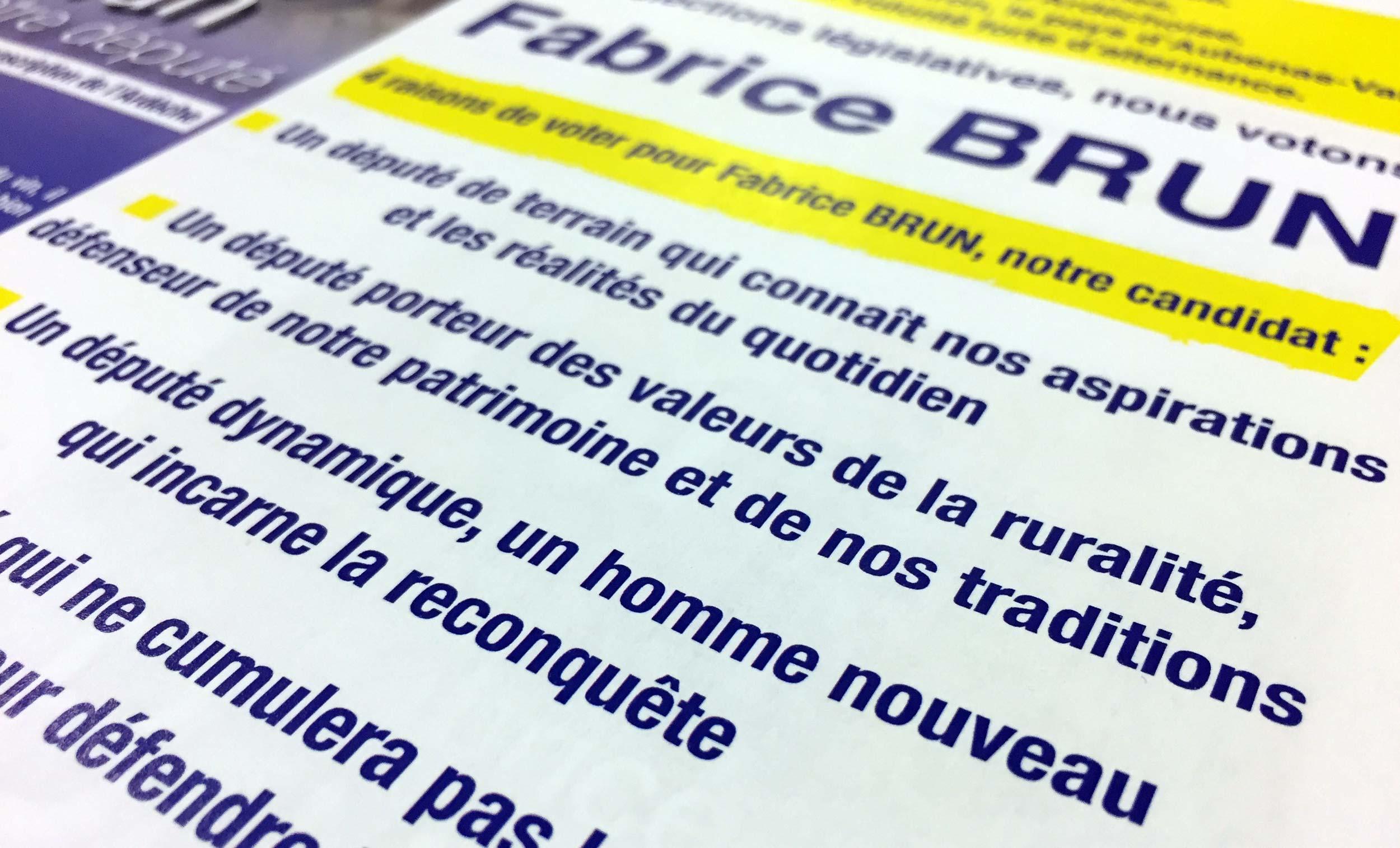 Téléchargez le premier tract de Fabrice Brun