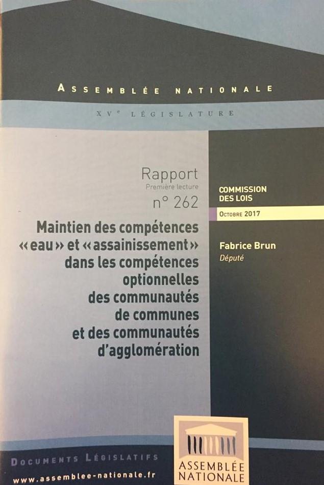 Le rapport sur le maintien du caractère optionnel des compétences «eau» «assainissement» aux intercommunalités publié