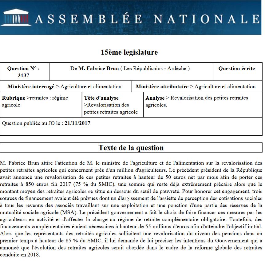 Fabrice Brun saisit le gouvernement sur les petites retraites agricoles
