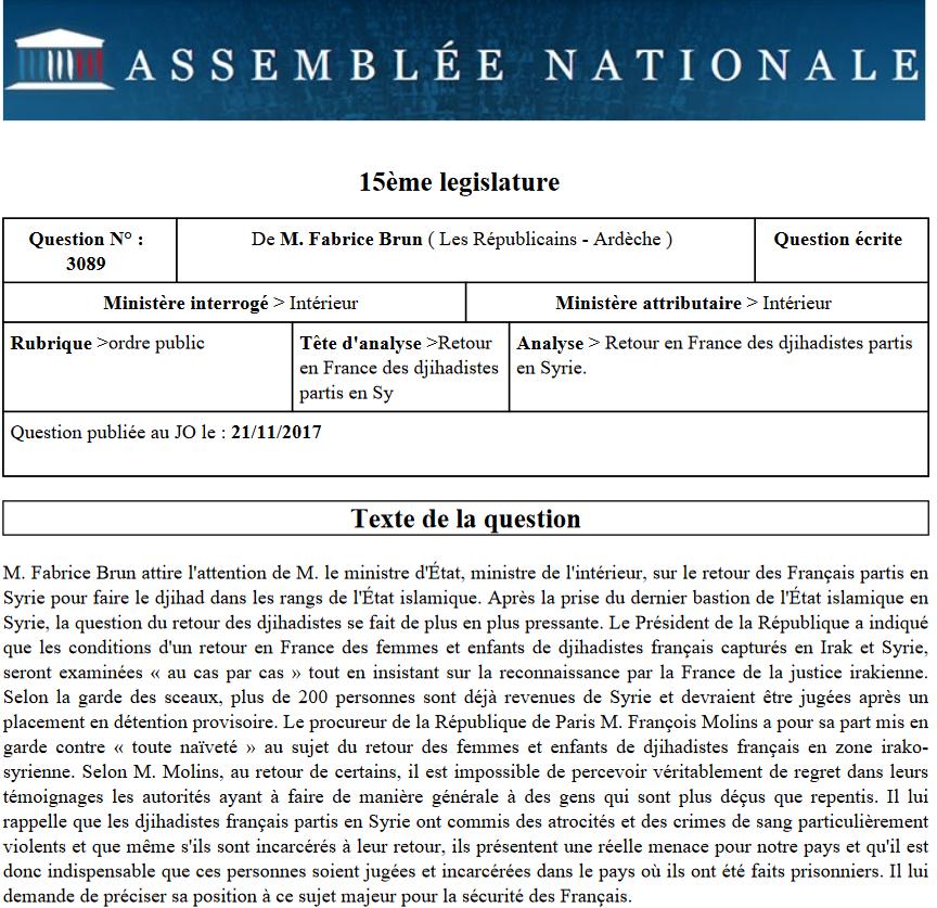 Retour des djihadistes en France, Fabrice Brun interpelle le Ministre de l'Intérieur