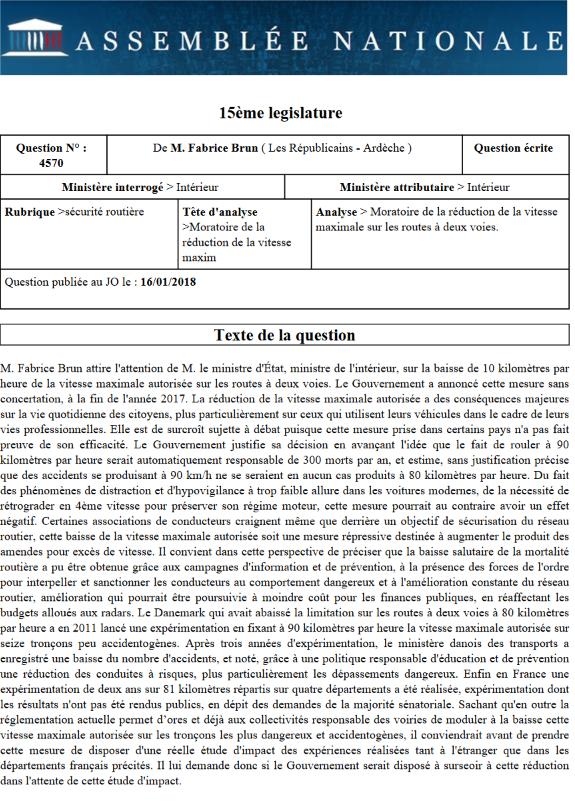 Baisse de la vitesse autorisée à 80 km/h : Fabrice Brun demande un moratoire