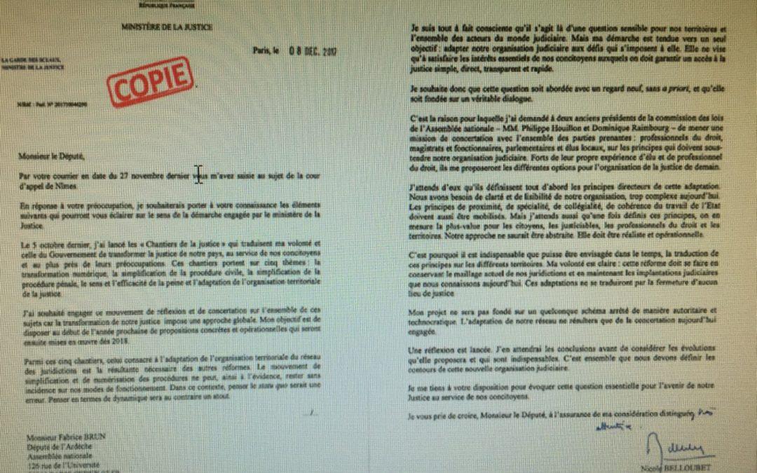 Avenir de la Cour d'Appel de Nimes : Fabrice Brun vigilant