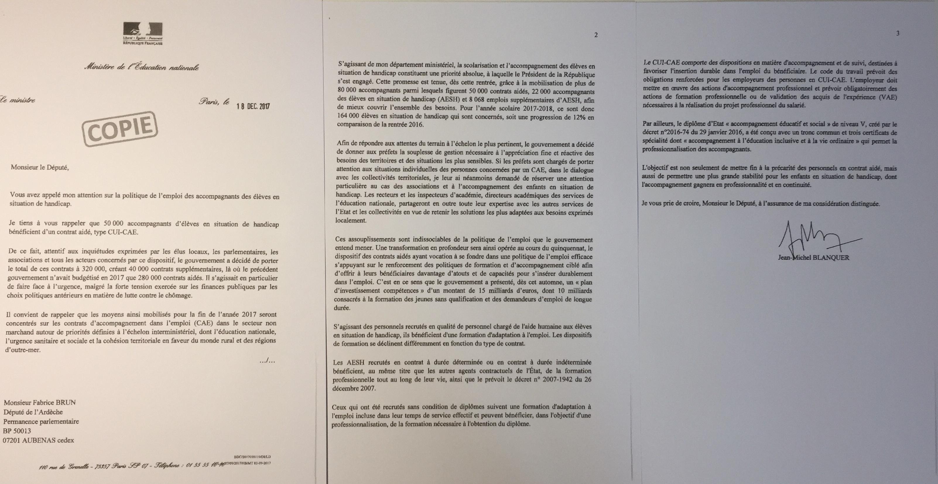 Contrat aidés des accompagnants des élèves en handicap : Jean-Michel Blanquer répond à Fabrice Brun