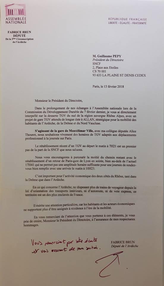 Desserte TGV : Fabrice Brun saisit Guillaume Pépy