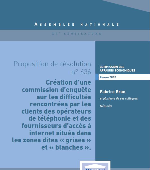 Fabrice Brun demande une commission d'enquête sur les difficultés rencontrées par les clients des opérateurs de téléphonie et des fournisseurs d'accès à internet situés dans les zones dites « grises » et « blanches »