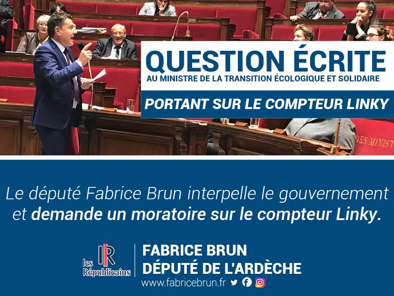Compteur Linky : Fabrice Brun interpelle le ministre de la transition écologique et solidaire.