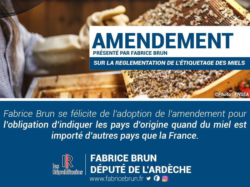 Fabrice Brun se félicite de l'adoption des amendements qui vont permettre de valoriser le miel de France.