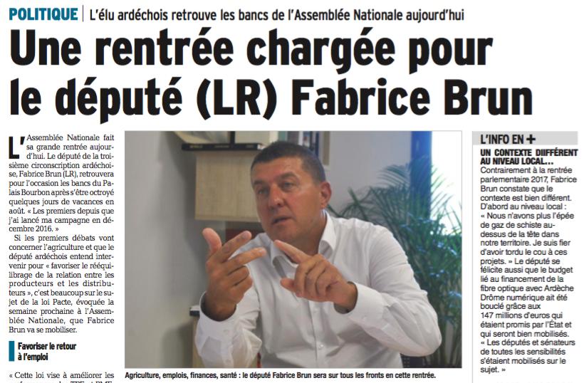 Revue de presse – «Une rentrée chargée pour le député (LR) Fabrice Brun» – Le Dauphiné Libéré du 12 septembre 2018