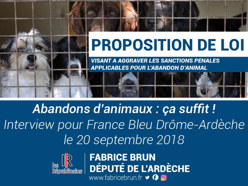 [RADIO] Abandons d'animaux : ça suffit ! Interview pour France Bleu Drôme-Ardèche (20/09/18)