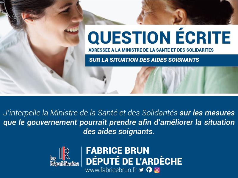 Question écrite à la Ministre de la Santé sur la situation des aides-soignants