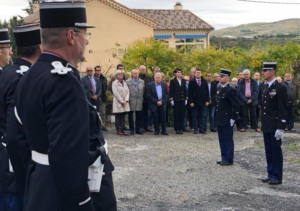 Remise de commandement de la brigade de gendarmerie de Villeneuve-de-Berg au major Olivier Bernard.