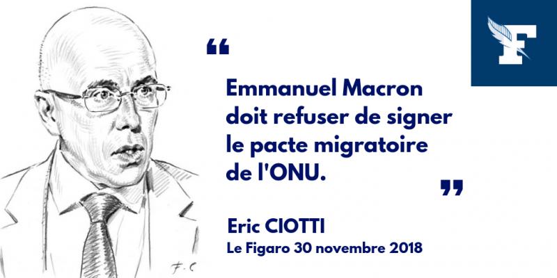 """Le Figaro Eric Ciotti : «Le """"pacte sur les migrations"""" de l'ONU, vers un droit à l'immigration opposable»"""