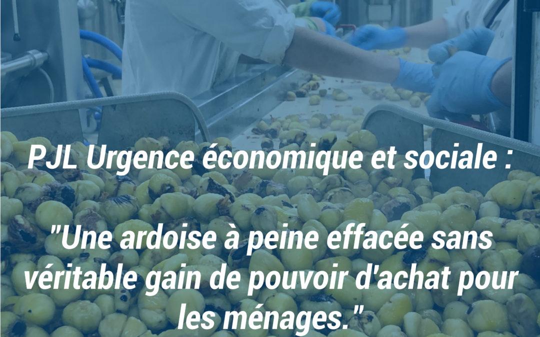 PJL Urgence économique et sociale : «Une ardoise à peine effacée sans véritable gain de pouvoir d'achat pour les ménages.»