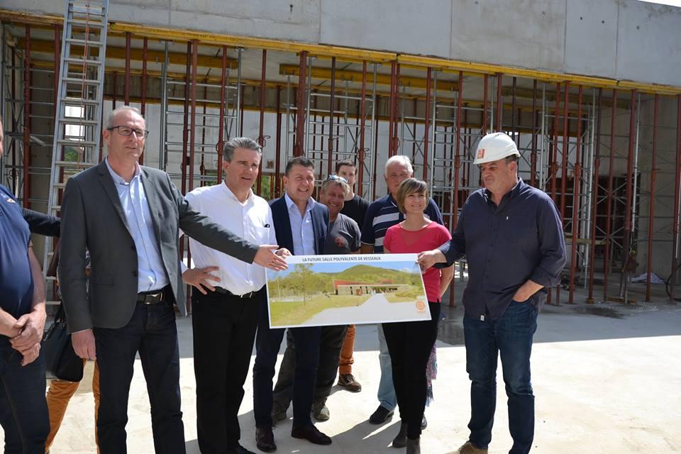 Visite du chantier de la nouvelle salle polyvalente de Vesseaux