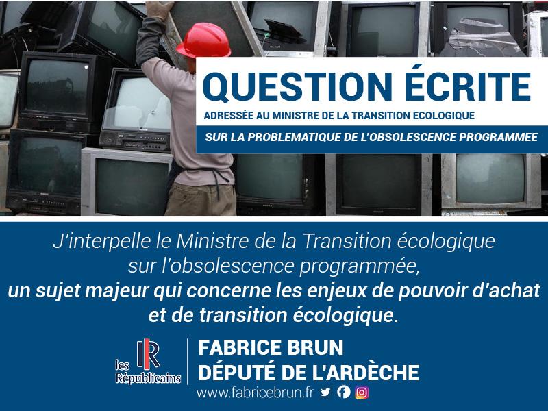 Obsolescence programmée : J'interpelle le Ministre de la Transition écologique et solidaire