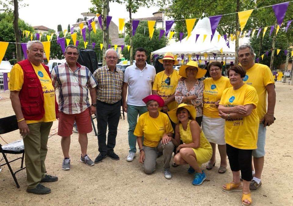 Aux Vans, pour saluer les bénévoles deL'Ardéchoise