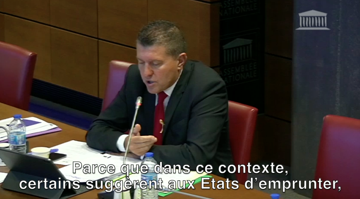 Mon intervention en Commission des Finances sur les taux d'intérêts négatifs