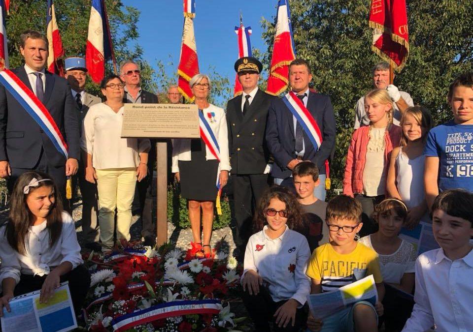Hommage à nos anciens combattants lors de l'inauguration du rond-point de la Résistance à Vogüé