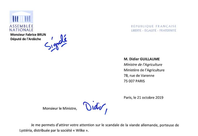 Scandale de la viande allemande porteuse de Listéria : j'interpelle le Ministre de l'Agriculture.
