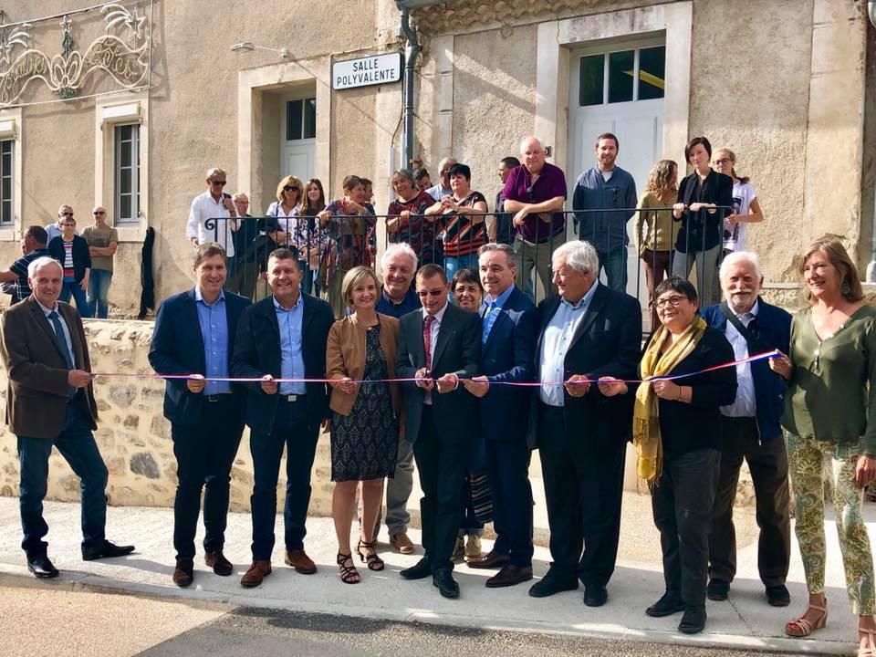A Rocher, pour l'inauguration de la traverse du village et de l'accès à la salle polyvalente.