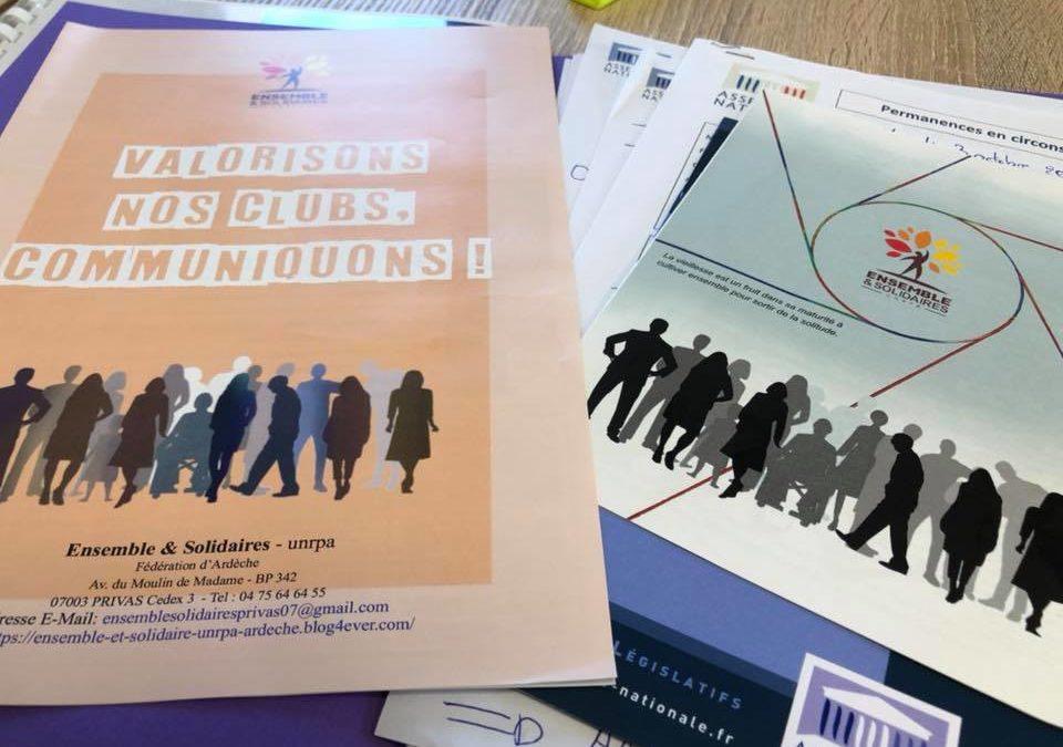 Réunion de travail avec Ensemble et Solidaire – UNRPA de l'Ardèche.