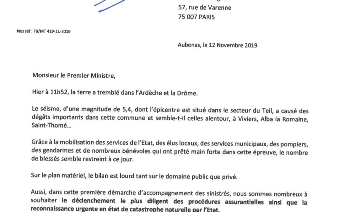 J'interpelle le Premier Ministre après le séisme qui a frappé l'Ardèche et la Drôme.
