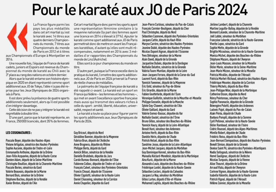 Pour le karaté aux Jeux Olympique de Paris 2024.