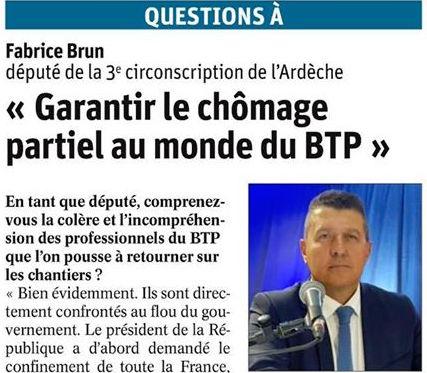 Interview pour Le Dauphiné Libéré : «Garantir le chômage partiel au monde du BTP»