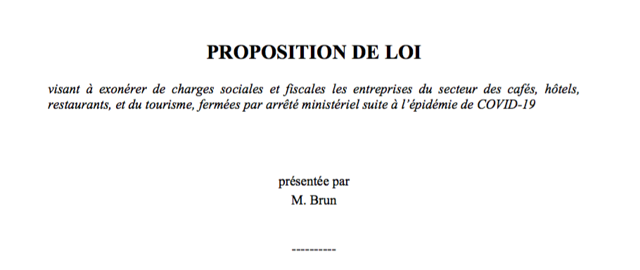Proposition de loi visant à exonérer de charges sociales et fiscales les entreprises du secteur des cafés, hôtels, restaurants, et du tourisme, fermées par arrêté ministériel suite à l'épidémie de COVID-19