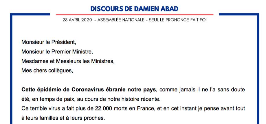 Discours de Damien ABAD, président du groupe Les Républicains, le 28/04/2020 à l'Assemblée nationale.