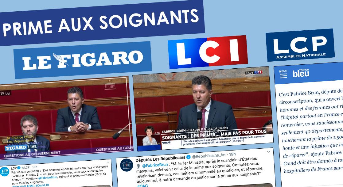 PRIME AUX SOIGNANTS POUR LES ARDECHOIS – La presse nationale en parle.