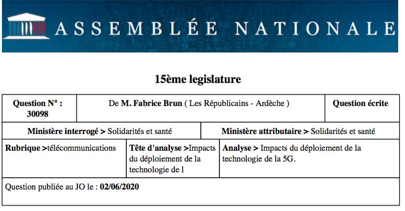Impacts du déploiement de la technologie de la 5G : question au Ministre des Solidarités et de la Santé.