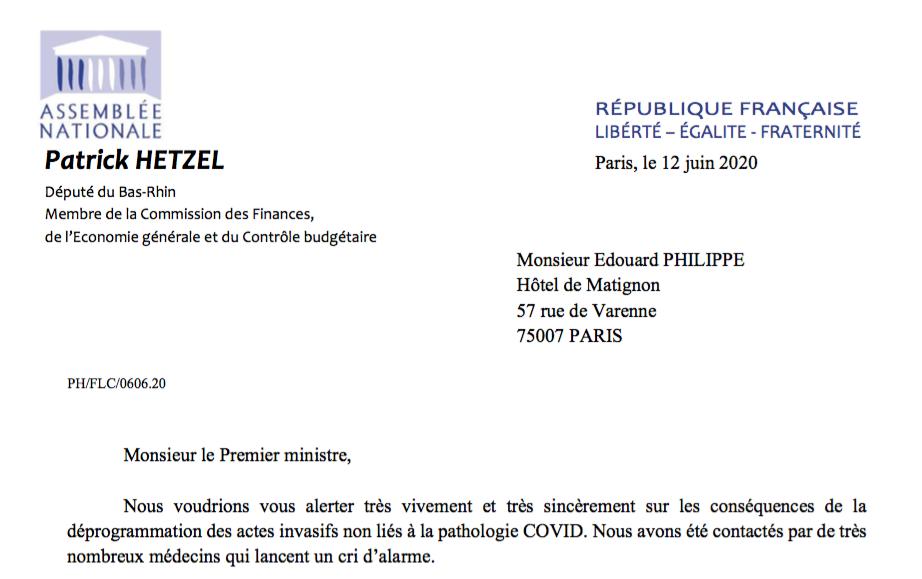 Situation des services de cancérologie hospitalière suite au Covid-19 : lettre au Premier Ministre.