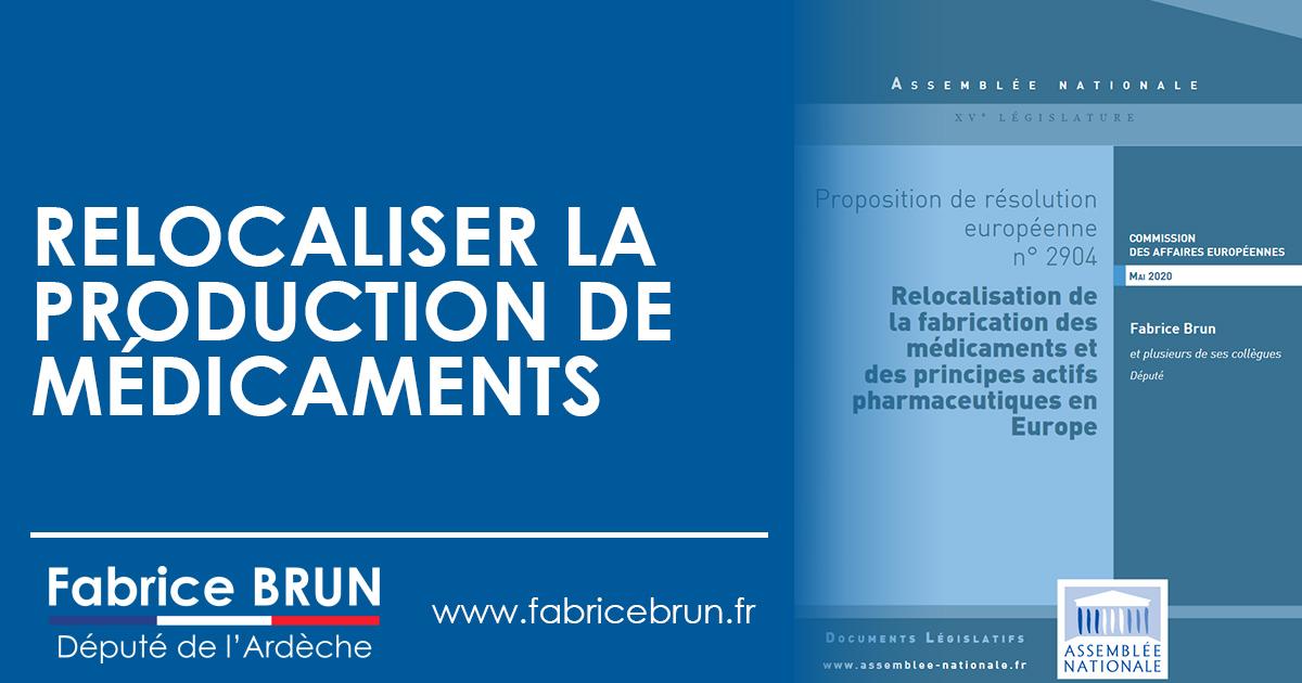 La Commission des Affaires Européennes de l'Assemblée nationale s'empare de mes travaux pour relocaliser la fabrication de médicaments.