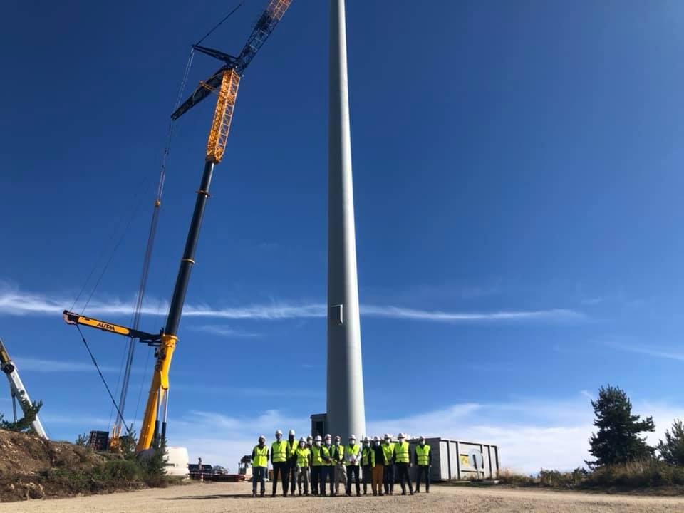 Visite du chantier du parc éolien de Cham Longe sur la Montagne ardéchoise.