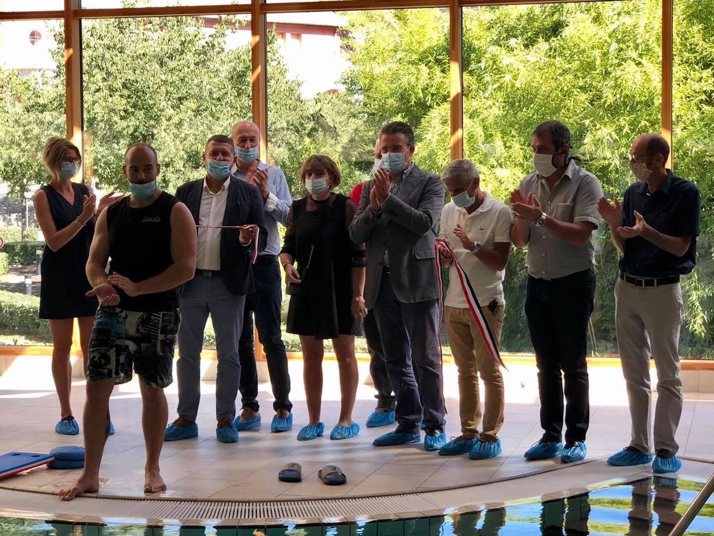 Inauguration de la nouvelle piscine panoramique des thermes de Neyrac-les-Bains.