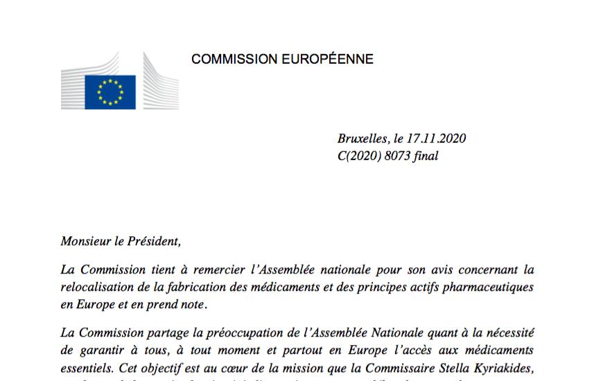 Réponse de la Commission européenne suite à l'adoption de ma PPRE sur la relocalisation de la fabrication de médicaments.