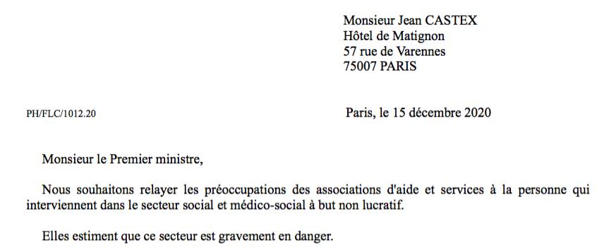 Situation des associations d'aide et services à la personne face à la crise du covid-19 : courrier au Premier Ministre.