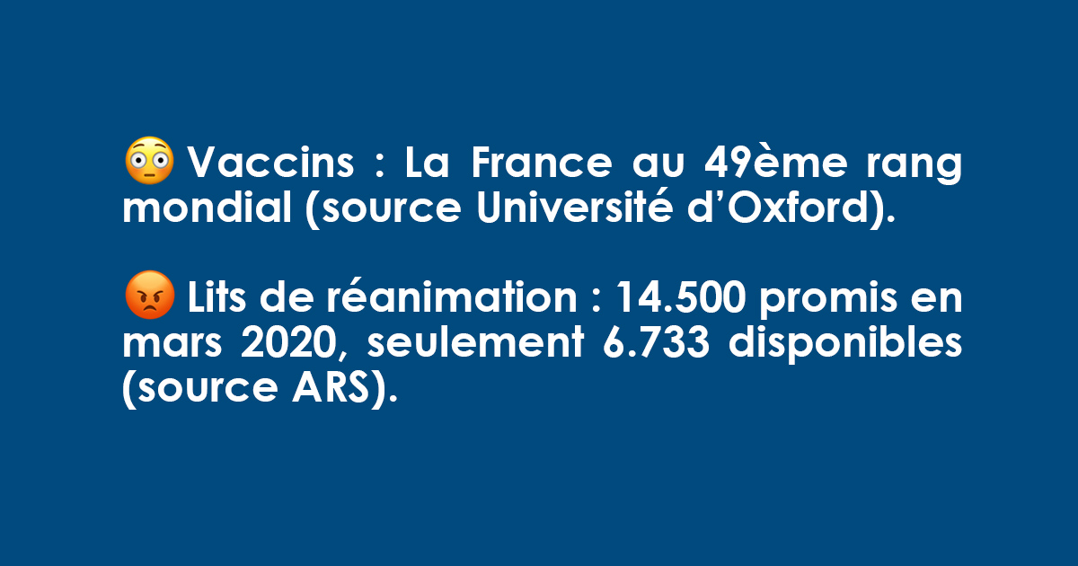Moins de baratin, plus de vaccins et de moyens pour protéger les Français et retrouver nos libertés !