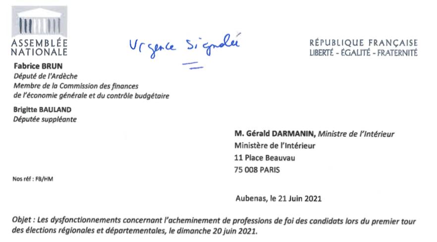 J'interpelle le Ministre de l'Intérieur sur les dysfonctionnements graves concernant l'acheminement des professions de foi des candidats