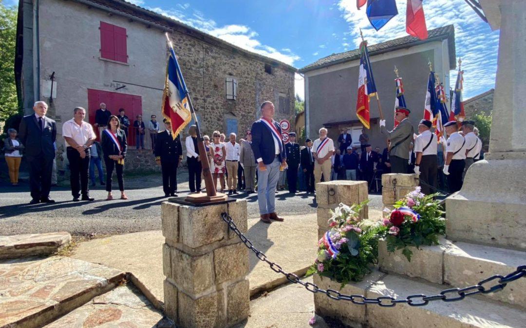 Cérémonie d'hommage au Capitaine Léon Lamy à Chirols.