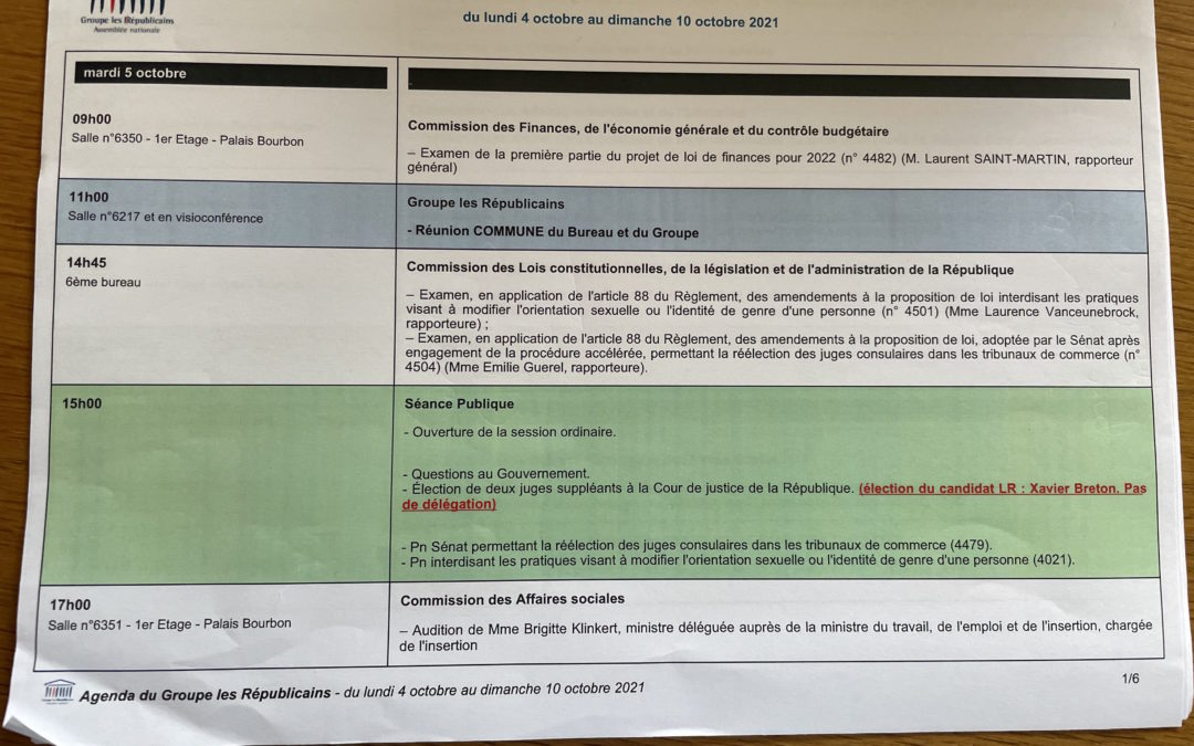 Agenda de l'Assemblée nationale.